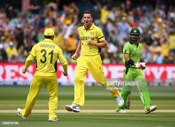 Josh Hazlewood of Australia celebrates after taking the wicket of Ahmed Shehzad of Pakistan during the 2015 ICC Cricket World Cup match between...