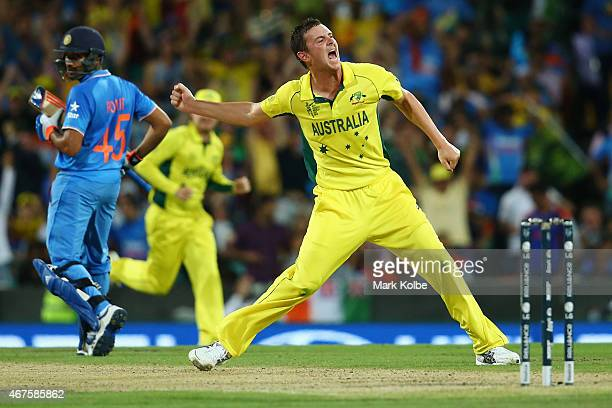 Josh Hazlewood of Australia celebrates after taking the wicket of Shikhar Dhawan of India during the 2015 Cricket World Cup Semi Final match between...