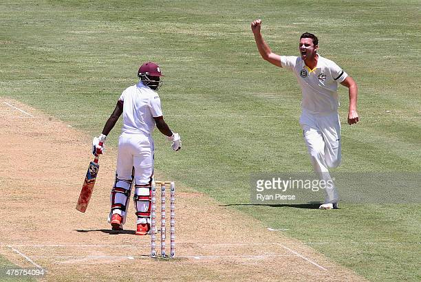 Josh Hazlewood of Australia celebrates after taking the wicket of Jermaine Blackwood of West Indies during day one of the First Test match between...