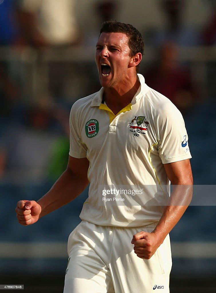 Josh Hazlewood of Australia celebrates after taking the wicket of Jermaine Blackwood of West Indies during day two of the Second Test match between...