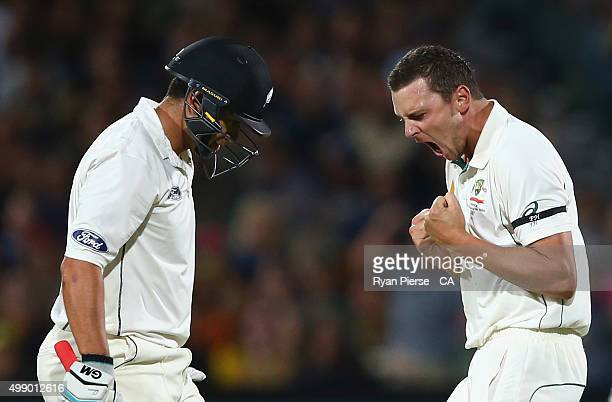 Josh Hazlewood of Australia celebrates after taking the wicket of Ross Taylor of New Zealand during day two of the Third Test match between Australia...
