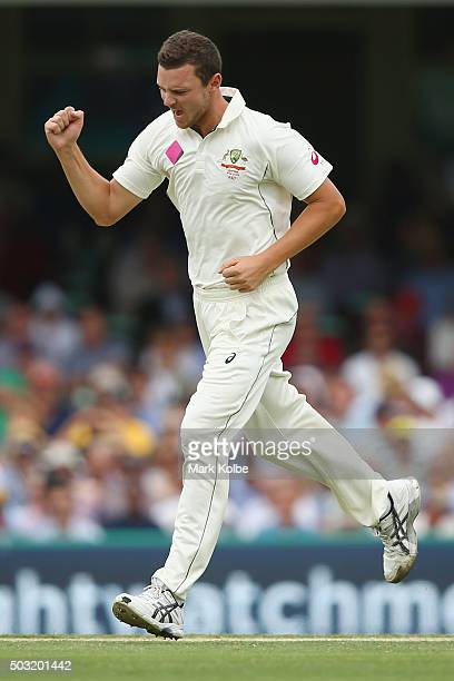 Josh Hazlewood of Australia celebrates after taking the wicket of Shai Hope of West Indies during day one of the third Test match between Australia...