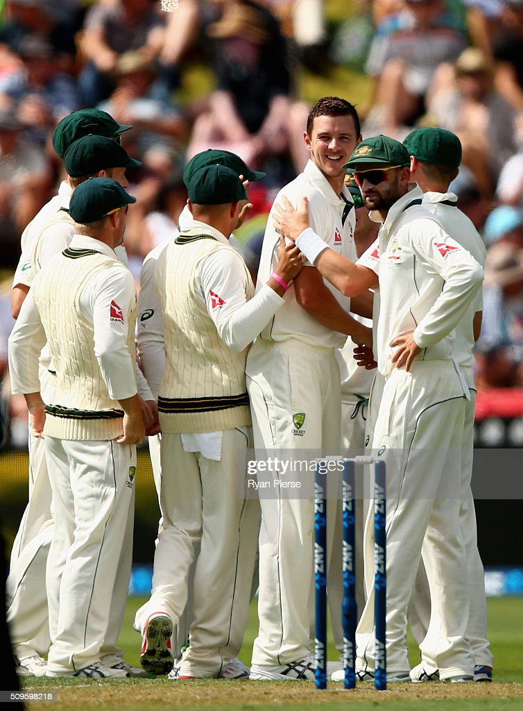 <a gi-track='captionPersonalityLinkClicked' href=/galleries/search?phrase=Josh+Hazlewood&family=editorial&specificpeople=4884811 ng-click='$event.stopPropagation()'>Josh Hazlewood</a> of Australia celebrates after taking the wicket of Martin Guptill of New Zealand during day one of the Test match between New Zealand and Australia at Basin Reserve on February 12, 2016 in Wellington, New Zealand.