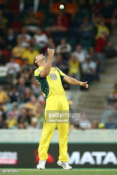 Josh Hazlewood of Australia celebrates after taking the wicket of Tom Latham of New Zealand during game two of the One Day International series...