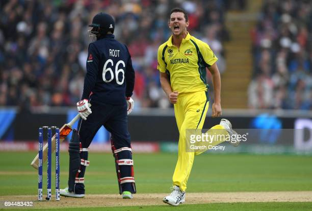 Josh Hazlewood of Australia celebrates dismissing Joe Root of England during the ICC Champions Trophy match between England and Australia at...