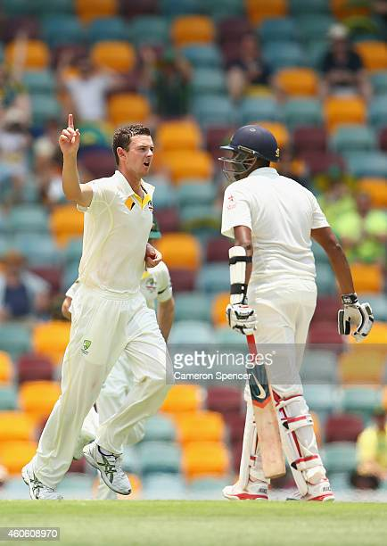 Josh Hazlewood of Australia celebrates taking the wicket of Ravichandran Ashwin of India during day two of the 2nd Test match between Australia and...