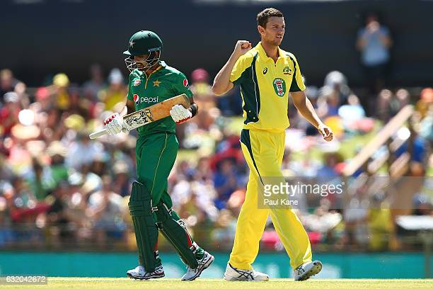 Josh Hazlewood of Australia celebrates the wicket of Babar Azam of Pakistan during game three of the One Day International series between Australia...