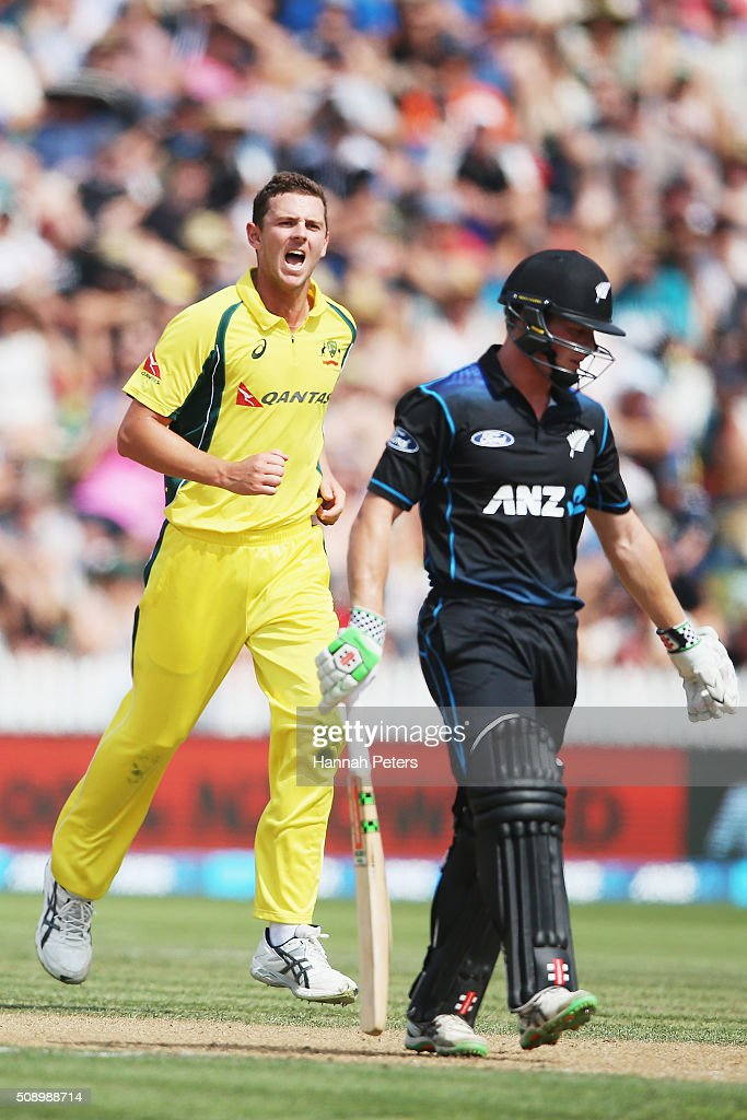 <a gi-track='captionPersonalityLinkClicked' href=/galleries/search?phrase=Josh+Hazlewood&family=editorial&specificpeople=4884811 ng-click='$event.stopPropagation()'>Josh Hazlewood</a> of Australia celebrates the wicket of Henry Nicholls of the Black Caps during the 3rd One Day International cricket match between the New Zealand Black Caps and Australia at Seddon Park on February 8, 2016 in Hamilton, New Zealand.