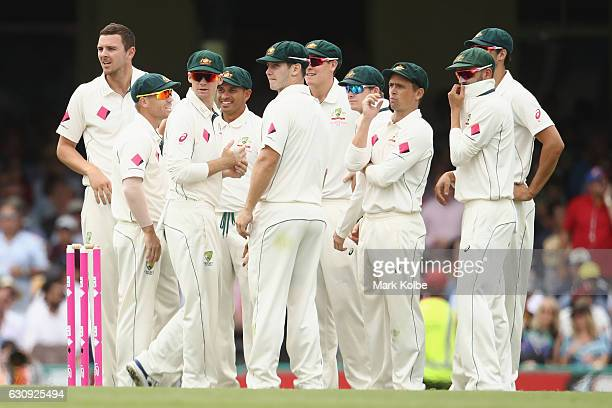 Josh Hazlewood of Australia celebrates with his team mates after taking the wicket of Babar Azam of Pakistan during day two of the Third Test match...