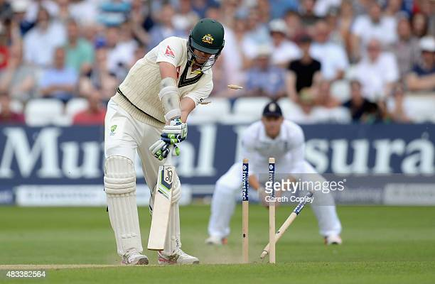 Josh Hazlewood of Australia is bowled by Mark Wood of England during day three of the 4th Investec Ashes Test match between England and Australia at...