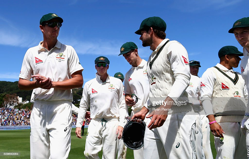 <a gi-track='captionPersonalityLinkClicked' href=/galleries/search?phrase=Josh+Hazlewood&family=editorial&specificpeople=4884811 ng-click='$event.stopPropagation()'>Josh Hazlewood</a> of Australia leads his team from the field after Australia bowled New Zealand out ofr 183 runs during day one of the Test match between New Zealand and Australia at Basin Reserve on February 12, 2016 in Wellington, New Zealand.