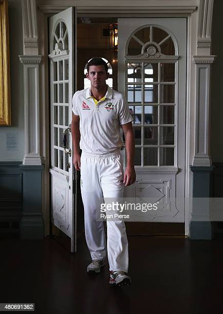 Josh Hazlewood of Australia poses in the MCC Members Pavillion at Lord's Cricket Ground on July 14 2015 in London England