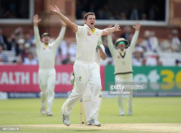 Josh Hazlewood of Australia successfully appeals for the wicket of Moeen Ali of England during day three of the 2nd Investec Ashes Test match between...