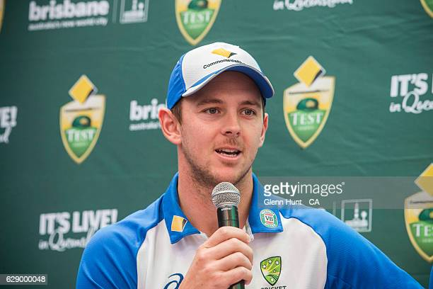Josh Hazlewood speaking at the Commonwealth Bank Test Series Launch at Queen Street Mall on December 11 2016 in Brisbane Australia