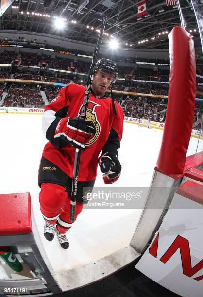 Josh Hennessy of the Ottawa Senators leaves the ice after warmups prior to a game against the Boston Bruins at Scotiabank Place on December 21 2009...