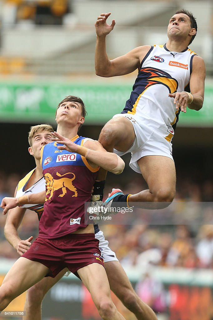 Josh Hill of the Eagles attempts a mark during the round 13 AFL match between the Brisbane Lions and the West Coast Eagles at The Gabba on June 18, 2016 in Brisbane, Australia.