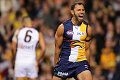 Josh Hill of the Eagles celebrates after scoring a goal during the AFL Qualifying Final match between the West Coast Eagles and Hawthorn Hawks at...