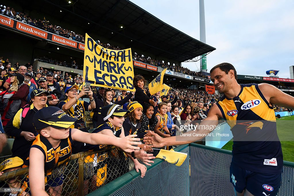 Josh Hill of the Eagles celebrates with the crowd after the 2016 AFL Round 06 match between the West Coast Eagles and the Collingwood Magpies at Domain Stadium, Perth on May 1, 2016.