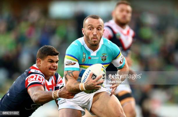 Josh Hodgson of the Raiders in action during the round 12 NRL match between the Canberra Raiders and the Sydney Roostrers at GIO Stadium on May 28...