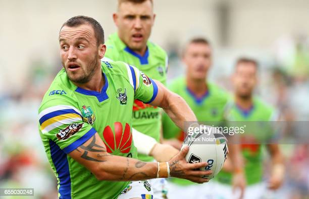 Josh Hodgson of the Raiders in action during the round three NRL match between the Canberra Raiders and the Wests Tigers at GIO Stadium on March 19...