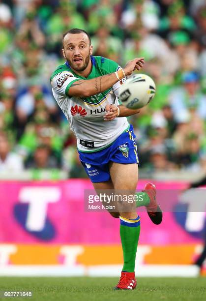 Josh Hodgson of the Raiders passes during the round five NRL match between the Canberra Raiders and the Parramatta Eels at GIO Stadium on April 1...