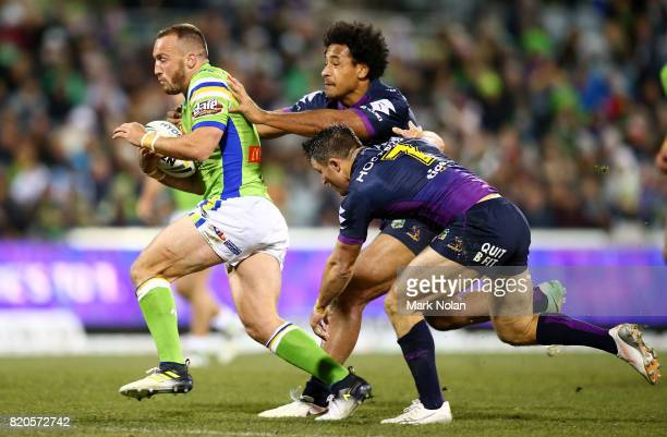 Josh Hodgson of the Raiders runs the ball during the round 20 NRL match between the Canberra Raiders and the Melbourne Storm at GIO Stadium on July...