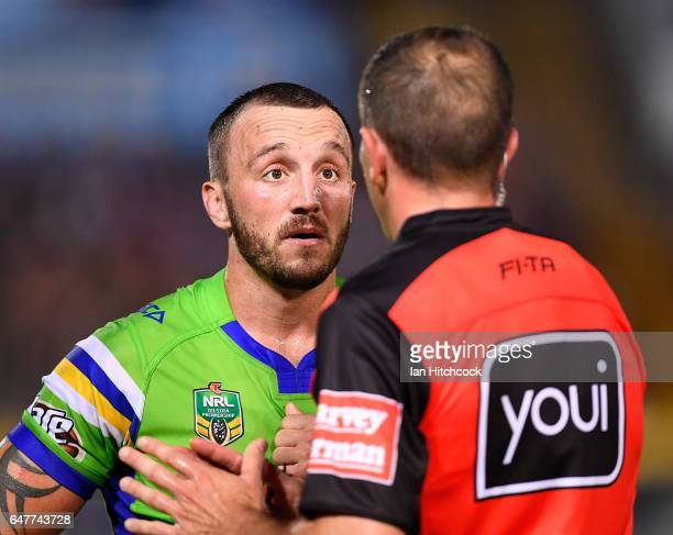 Josh Hodgson of the Raiders speaks with the referee during the round one NRL match between the North Queensland Cowboys and the Canberra Raiders at...