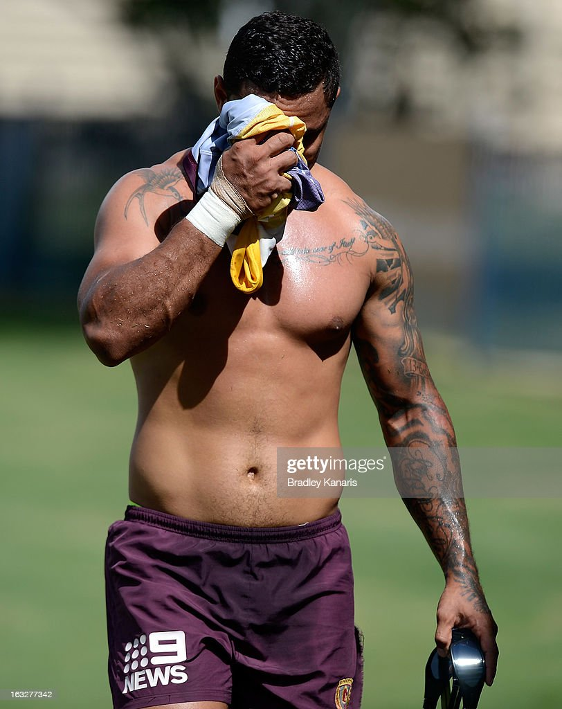 Josh Hoffman during a Brisbane Broncos NRL training session on March 7, 2013 in Brisbane, Australia.