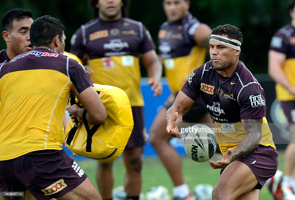 Josh Hoffman passes the ball during a Brisbane Broncos NRL training session on February 28, 2013 in Brisbane, Australia.