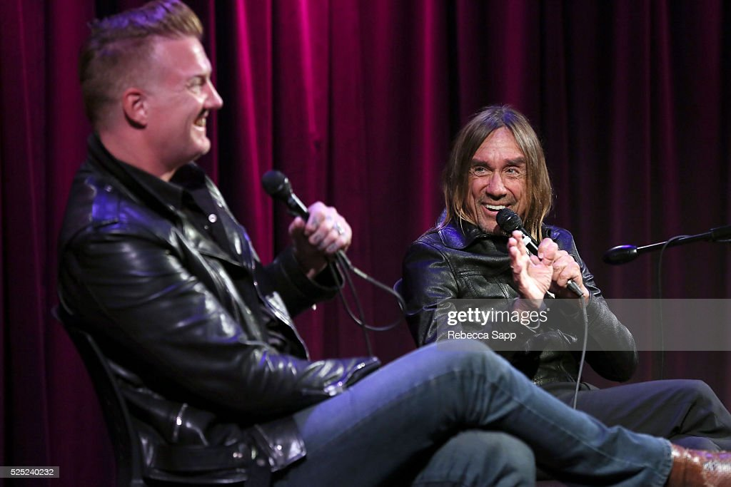 Josh Homme and Iggy Pop speak onstage at A Conversation With Iggy Pop And Josh Homme at The GRAMMY Museum on April 27, 2016 in Los Angeles, California.