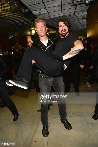 Josh Homme of Queens of the Stone Age and Dave Grohl of Foo Fighters attends the 56th GRAMMY Awards at Staples Center on January 26 2014 in Los...
