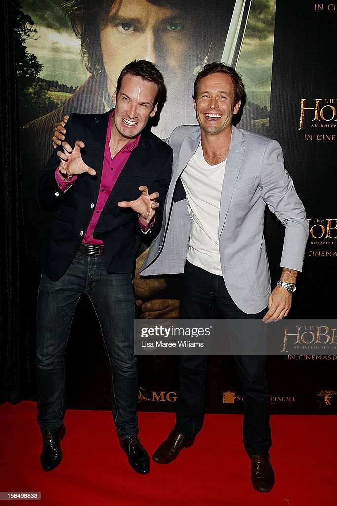 Josh Honer and David Whitehill attend the Sydney premiere of 'The Hobbit: An Unexpected Journey' at George Street V-Max Cinemas on December 18, 2012 in Sydney, Australia.