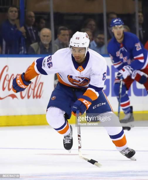 Josh HoSang of the New York Islanders skates against the New York Rangers at Madison Square Garden on October 19 2017 in New York City The Islanders...