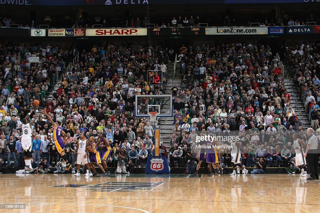 Josh Howard #8 of the Utah Jazz puts up a 3 point shot to tie the game with under one minute to go against the Los Angeles Lakers at Energy Solutions Arena on January 11, 2012 in Salt Lake City, Utah.