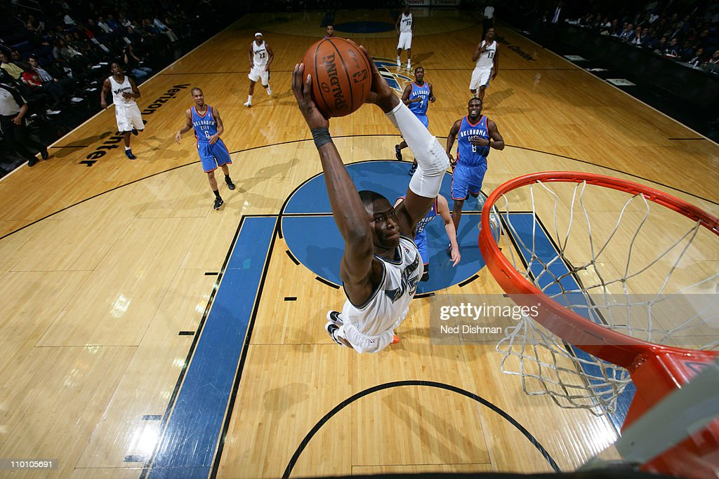<a gi-track='captionPersonalityLinkClicked' href=/galleries/search?phrase=Josh+Howard&family=editorial&specificpeople=201718 ng-click='$event.stopPropagation()'>Josh Howard</a> #5 of the Washington Wizards dunks against the Oklahoma City Thunder at the Verizon Center on March 14, 2011 in Washington, DC.