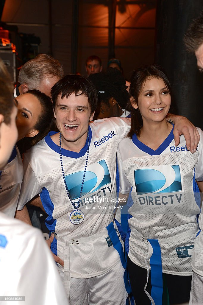 Josh Hutcherson and Nina Dobrev attend DIRECTV'S Seventh Annual Celebrity Beach Bowl at DTV SuperFan Stadium at Mardi Gras World on February 2, 2013 in New Orleans, Louisiana.