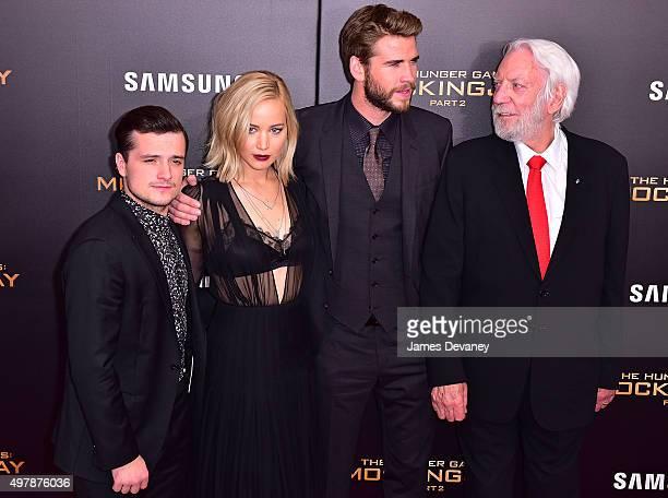 Josh Hutcherson Jennifer Lawrence Liam Hemsworth and Donald Sutherland attend the 'The Hunger Games Mockingjay Part 2' New York premiere at AMC Loews...