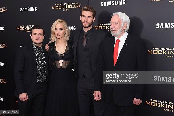 Josh Hutcherson Jennifer Lawrence Liam Hemsworth and Donald Sutherland atttend 'The Hunger Games Mockingjay Part 2' New York Premiere at AMC Loews...