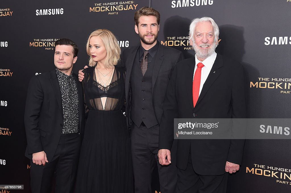 Josh Hutcherson Jennifer Lawrence Liam Hemsworth and Donald Sutherland atttend 'The Hunger Games Mockingjay Part 2' New York Premiere at AMC Loews...