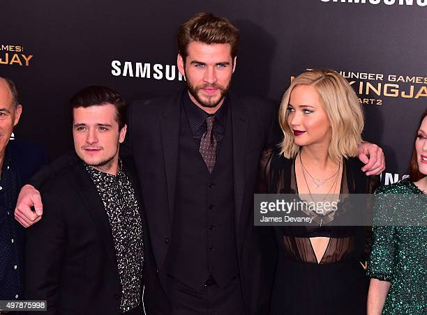 Josh Hutcherson Liam Hemsworth and Jennifer Lawrence attend the 'The Hunger Games Mockingjay Part 2' New York premiere at AMC Loews Lincoln Square 13...