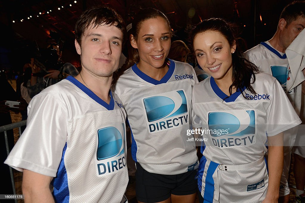 Josh Hutcherson, Lolo Jones, and Leah Gibson attend DIRECTV'S 7th Annual Celebrity Beach Bowl at DTV SuperFan Stadium at Mardi Gras World on February 2, 2013 in New Orleans, Louisiana.