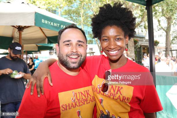 Josh Hyman and Aubrey Taylor from the cast of Junk Shakespeare attend 1067 Lite FM's Broadway In Bryant Park on July 20 2017 in New York City