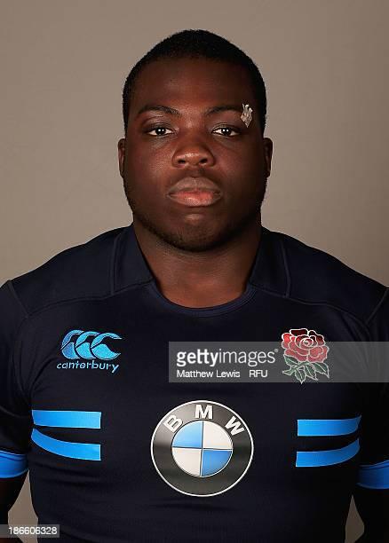 Josh Ibuanokpe of England U18's poses for a portrait during an England Rugby Union U18's Headshot session at Loughborough University on November 1...