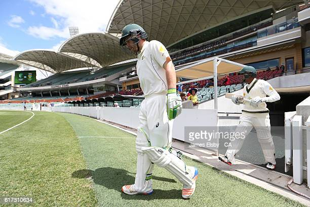 ADELAIDE AUSTRALIA Josh Inglis and Arjun Nair of Australia open the batting during the tour match between South Africa and the Cricket Australia XI...