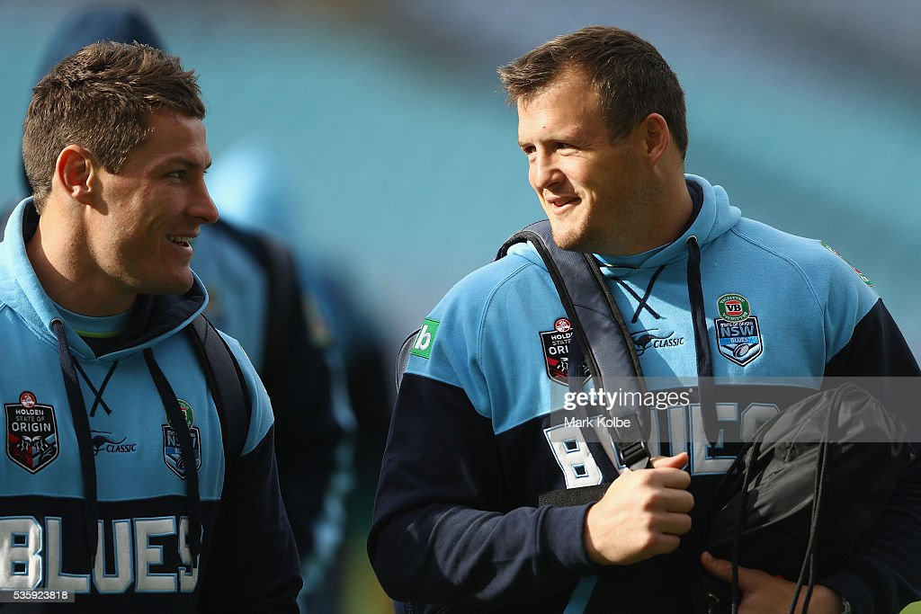 Josh Jackson and Josh Morris speak as they arrive for the New South Wales State of Origin captain's run at ANZ Stadium on May 31, 2016 in Sydney, Australia.