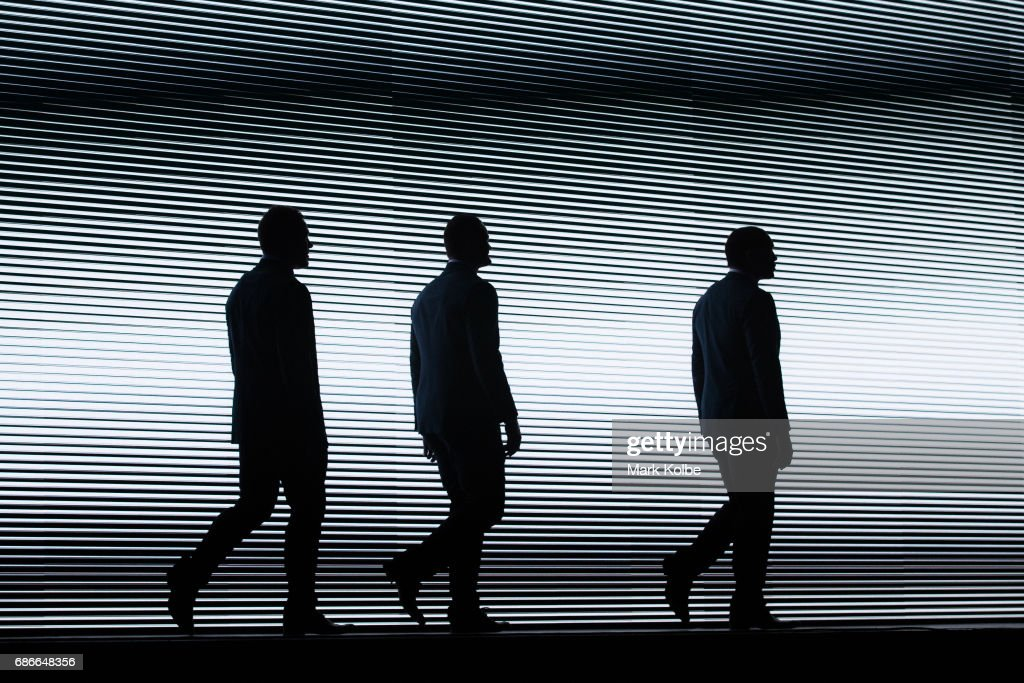 Josh Jackson, Boyd Cordner and Tyson Frizell walk on stage during the New South Wales State of Origin team announcement at The Star on May 22, 2017 in Sydney, Australia.