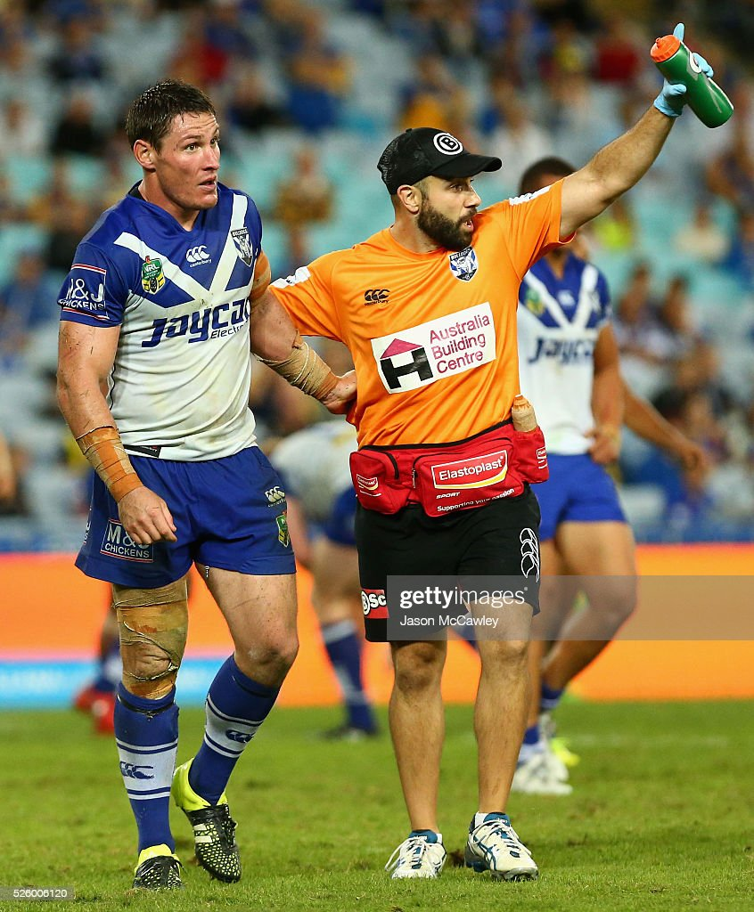 Josh Jackson of the Bulldogs receives attention during the round nine NRL match between the Parramatta Eels and the Canterbury Bulldogs at ANZ Stadium on April 29, 2016 in Sydney, Australia.