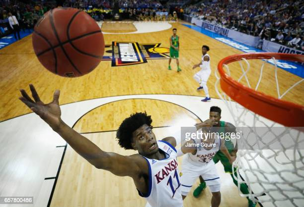 Josh Jackson of the Kansas Jayhawks attempts to rebound the ball in the first half against the Oregon Ducks during the 2017 NCAA Men's Basketball...