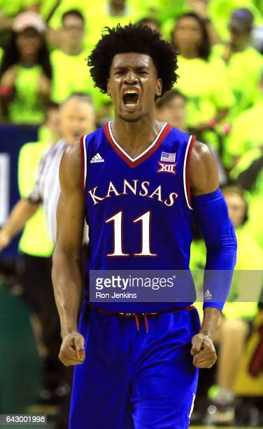 Josh Jackson of the Kansas Jayhawks celebrates after Kansas defeated the Baylor Bears at the Ferrell Center on February 18 2017 in Waco Texas Kansas...