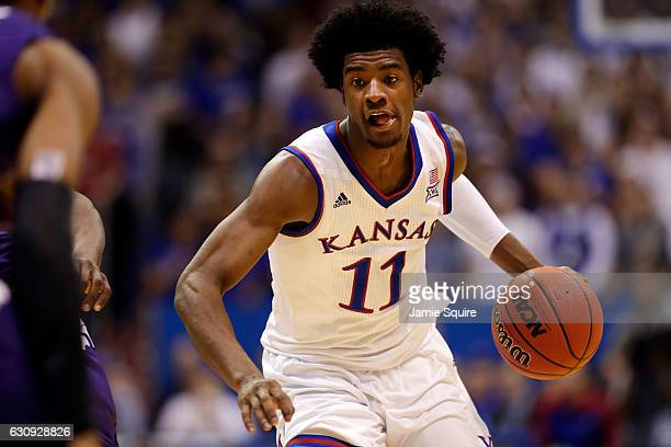 Josh Jackson of the Kansas Jayhawks in controls the ball during the 1st half of the game against the Kansas State Wildcats at Allen Fieldhouse on...